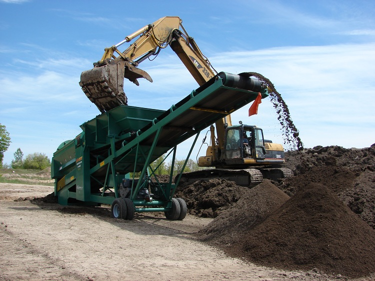 Processing wet topsoil near Sault Ste. Marie, ON