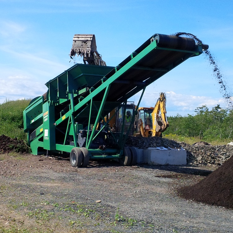 Processing wet compost on Cape Breton, Nova Scotia